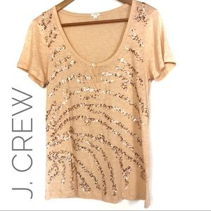 J. Crew Orange Sequined T Shirt